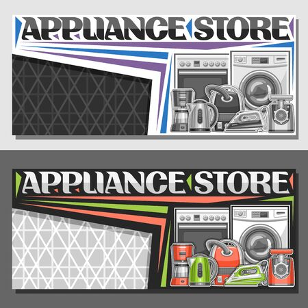 Vector layout for Appliance Store with copy space, illustration of different red and green modern home appliances, decorative font for words appliance store, sign board with household tech accessories 일러스트