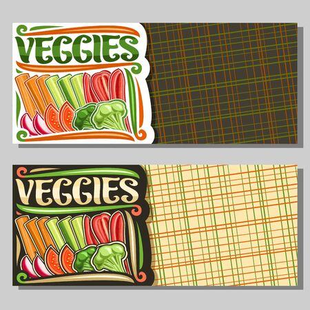 Vector template for Veggies with copy space, layout with group of raw vegetables in a row, decorative typeface for word veggies, sign board for farmer store with different chopped vegetables flat lay.