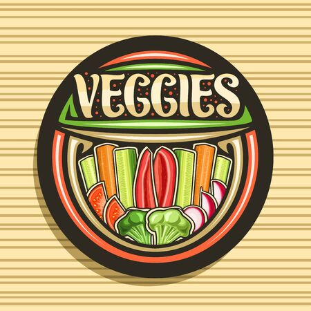 design for Veggies, dark tag with illustration of raw vegetables group in a row, decorative typeface for word veggies, design signage for farming store with different chopped vegetables flat lay.
