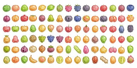 Vector set of fresh Fruits, 90 cut out illustration of organic fruits and berries, group of colorful design stickers for drinks and ice cream dessert, variety text in shape of cartoon healthy fruit.