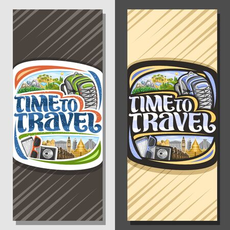 Vector layouts for Travel Agency, brochure with illustrations of famous places in europe and african nature reserves, voucher with decorative font for words time to travel with abstract background. 일러스트