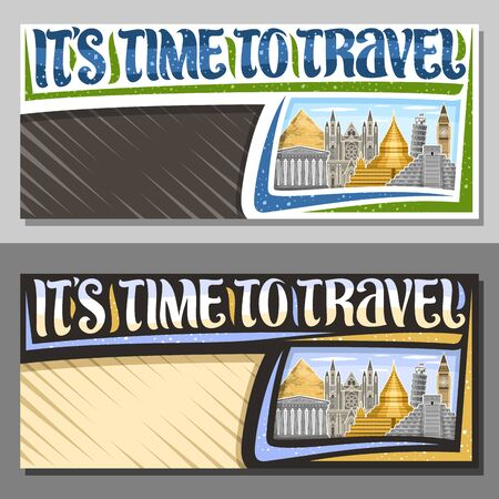 Vector layouts for Travel Agency with copy space, signboard with illustrations of ancient parthenon and famous mayan temple chichen itza, voucher with decorative font for words its time to travel.