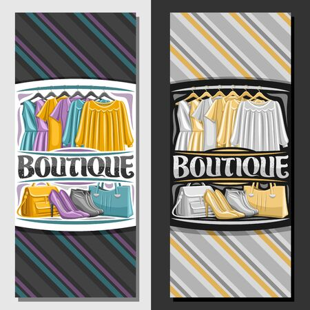 Vector templates for Boutique, brochure with illustration of colorful womens dresses hanging on rack in a row, decorative brush typeface for word boutique, grey girl shoes and yellow bags on shelf.