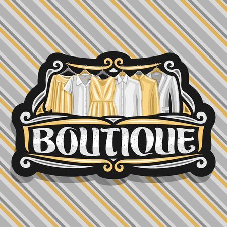 Design for Boutique, black sign board with illustration of womens dresses and grey mens jackets, original brush typeface for word boutique, fashion concept on luxury striped fabric background.