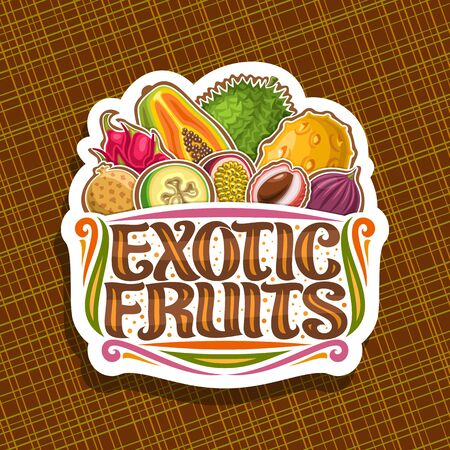Exotic Fruits, decorative cut paper tag with illustration of group different colorful healthy fruits, signboard with original typeface for words exotic fruits on abstract background.