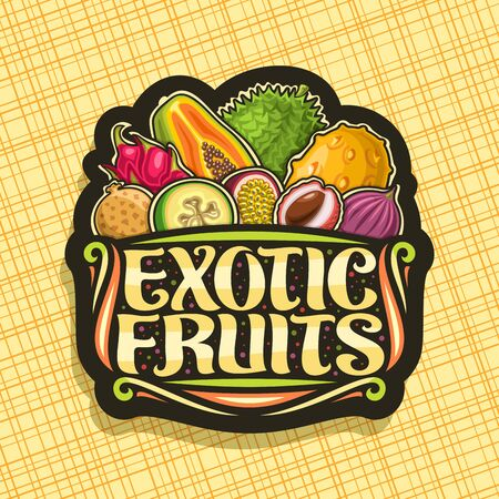 Exotic Fruits, black decorative badge with illustration of heap different healthy fruits, design sign board with original brush typeface for words exotic fruits on abstract background.