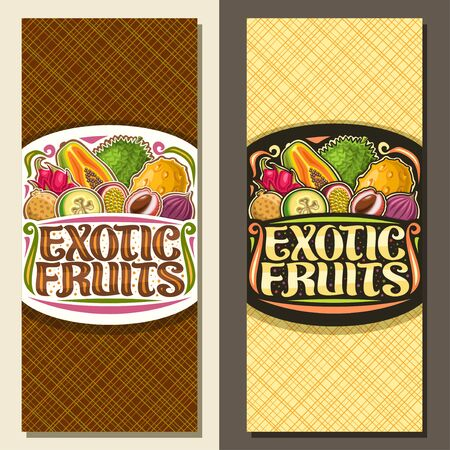 Vector layouts for Exotic Fruits, brochure with illustration of pile variety healthy fruits, leaflet with original brush lettering for words exotic fruits and flourishes on abstract background.