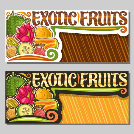 Vector layouts for Exotic Fruits with copy space, horizontal banners with illustration of heap various fruits, sign board with original brush lettering for words exotic fruits on striped background.