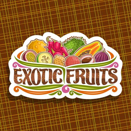 Exotic Fruits, decorative cut paper badge with illustration of group various colorful healthy fruits, sign board with original typeface for words exotic fruits on abstract background.