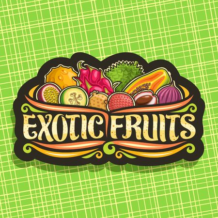 Exotic Fruits, black decorative badge with illustration of heap variety natural fruits, sign board with original typeface for words exotic fruits and flourishes on abstract background.