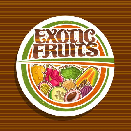 Exotic Fruits, white decorative icon with illustration of group various colorful healthy fruits, signage with original brush lettering for words exotic fruits on striped background.