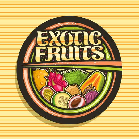 Exotic Fruits, black decorative icon with illustration of group variety healthy fruits, design signboard with original brush lettering for words exotic fruits on striped background.