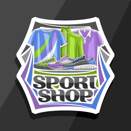 Sport Shop, white decorative sign board with illustration of modern sports shoes and clothes for activity lifestyle, badge with original font for words sport shop on grey background.
