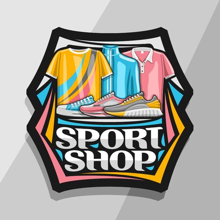 Sport Shop, black decorative sign board with illustration of trendy sports shoes and clothes for activity lifestyle, badge with original font for words sport shop on grey background.