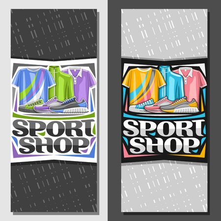 Vector layouts for Sport Shop, brochure with graphic illustration of trendy sports shoes and cotton clothes for activity lifestyle, leaflet with original font for words sport shop on grey background.