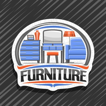 Furniture, white decorative signboard with illustration of contemporary living room interior, stylish badge with original typeface for word furniture on grey abstract background.