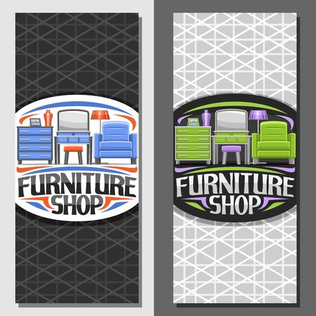 Vector layouts for Furniture Shop, brochure with illustration of blue and green contemporary livingroom interior, stylish leaflet with original typeface for words furniture shop with grey background. 向量圖像