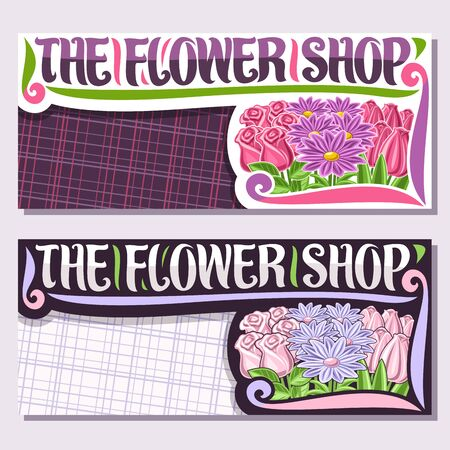 Vector layouts for Flower Shop with copy space, cartoon pale tulips, spring asters, roses with green leaves, sign board with decorative brush typeface for words the flower shop with purple background. Illustration