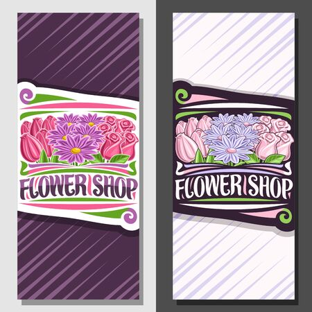 Vector layouts for Flower Shop, leaflet with illustration of pale tulips, purple summer asters, pink natural roses with green leaves, sign board with decorative brush lettering for words flower shop.