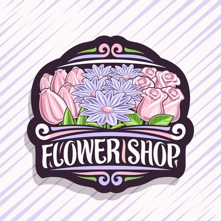 poster for Flower Shop, dark vintage sign board with cartoon pale tulips, purple summer chrysanthemums and pink natural roses with green leaves, decorative brush lettering for words flower shop.
