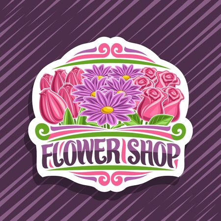 poster for Flower Shop, decorative cut paper label with illustration of red spring tulips, purple chrysanthemums and pink roses with green leaves, original brush typeface for words flower shop.