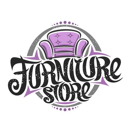 poster for Furniture Store, decorative sign board with illustration of classic cartoon purple armchair, design poster with original elegant typeface for words furniture store on white background.