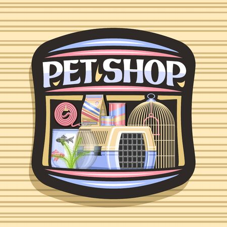 Pet Shop, black decorative label with illustration of plastic transport box for cat, aquarium with goldfish and seaweed in water, curled up dog lead, original font for words pet shop. Ilustración de vector