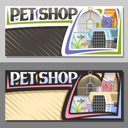 Vector layouts for Pet Shop with copy space, sign board with illustration of plastic travel box for cat and aquarium with goldfish in water and curled up dog lead, original font for words pet shop. Illustration