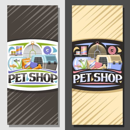 Vector layouts for Pet Shop, signboard with illustration of transport box for cat, plastic scoop, aquarium with goldfish in water and curled up dog lead, brochure with original font for words pet shop Stock fotó - 131432766