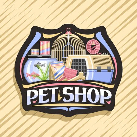 design for Pet Shop, black decorative badge with illustration of transport box for cat, plastic scoop, aquarium with goldfish in water and curled up dog lead, original font for words pet shop. Illustration