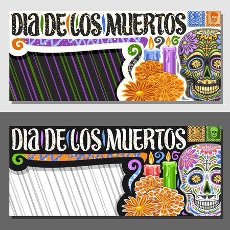 Vector layouts for Dia de los Muertos with copy space, decorative coupon with illustration of creepy skull, orange flowers, horizontal greeting card with original typeface for words dia de los muertos Vectores