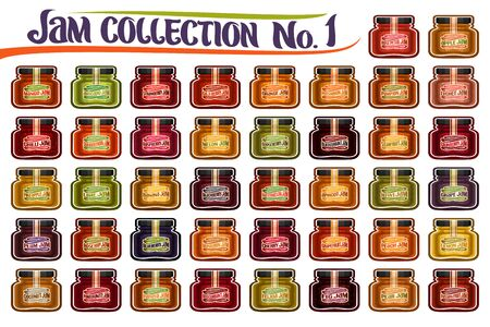 Vector set of different Jam Jars, group of 42 colorful cut out objects of fruits containers, isolated graphic illustrations of small glass jars with various labels on white, fruit jam pots collection.