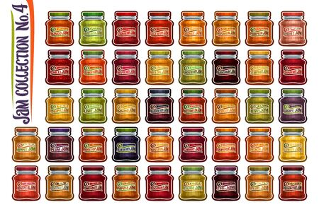 Vector set of different Jam Jars, group of 42 colorful cut out objects of fruits containers, graphic illustrations of variety big glass jars with metal caps on white, homemade jam pots collection. Иллюстрация