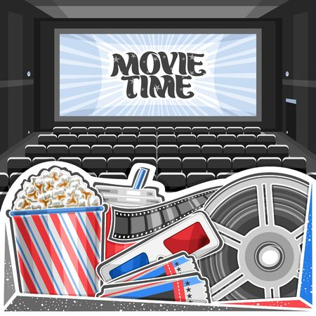 Vector illustration of Movie Theater, square poster with cinema screen, rows of empty armchairs, pop corn in large box, cola in plastic cup, red-blue 3d movie glasses, admission ticket and cinema reel