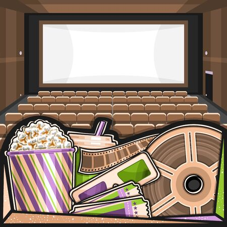 Vector illustration of Movie Theater, square poster with cinema screen, rows of armchairs, pop corn in large box, drink in plastic cup, green-magenta 3d movie glasses, admission ticket and cinema reel