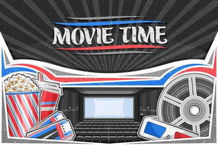 Vector illustration of Movie Theater, decorative card with cinema screen, rows of empty armchairs, popcorn in box, cola in plastic cup, red-blue 3d movie glasses, admission tickets and cinema reel.