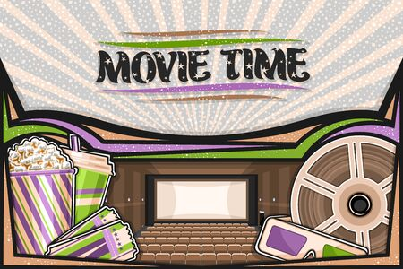Vector illustration of Movie Theater, template with cinema screen, rows of armchairs, popcorn in striped box, drink in plastic cup, green-magenta 3d movie glasses, admission tickets and cinema reel.