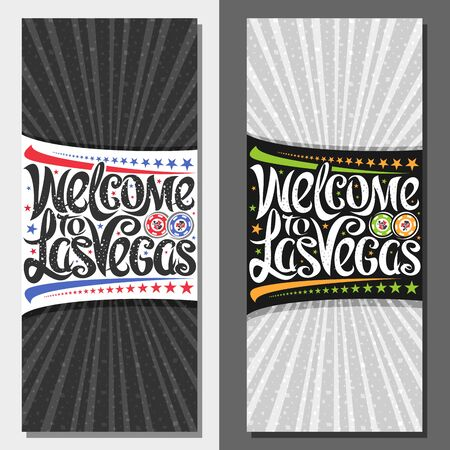 Vector vouchers for Las Vegas with copy space, decorative coupon with illustration of gambling chips, stars in a row and creative typeface for slogan welcome to las vegas on rays of light background. Ilustração