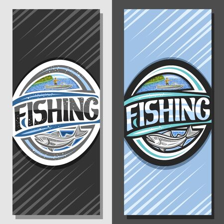 Vector layouts for Fishing, decorative brochure with illustration of standing male in motor boat near coast with trees, coupon with original script for word fishing and fish with abstract background.