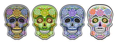 Vector set of Sugar Skulls for mexican Day of the Dead, group of 4 cut out colorful human skulls with decorative floral ornament for Dia de los Muertos festival, cartoon smiling masks with mustache. Stock Illustratie
