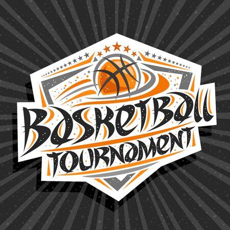 Logo vectoriel pour le tournoi de basket-ball, emblème moderne avec ballon volant dans le but, police de caractères originale pour le tournoi de basket-ball de mots, bouclier sportif avec étoiles d'affilée sur fond abstrait gris. Logo