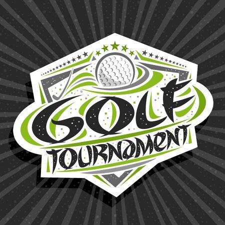 Vector logo for Golf Tournament, modern signage with hitting ball in goal, original brush typeface for words golf tournament, trendy sports shield with stars in a row on grey abstract background.  イラスト・ベクター素材