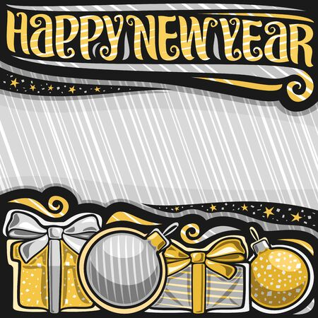 Vector poster for New Year with copy space on abstract striped background, decorative flyer with original lettering for words happy new year, illustration of gift boxes with bows and christmas balls.