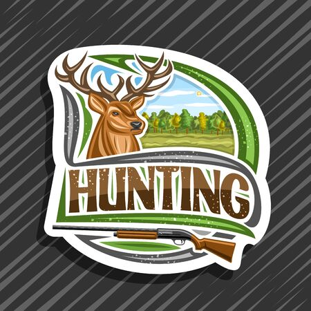 Hunting, decorative cut paper label with illustration of white-tailed deer head on trees background, original typeface for word hunting and old rifle, modern signage for hunt club. Çizim