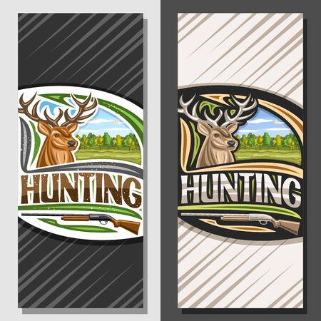 Vector layouts for Hunting, decorative leaflet with illustration of white-tailed deer head on autumn trees background, original typeface for word hunting and old rifle, vertical concept for hunt club.