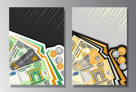 Vector Covers for Currency Exchange with copy space, banners with cartoon paper banknotes of dollar usa, plastic debit card, 100 european euro, golden and silver coins on gray abstract backdrop. Stock Illustratie