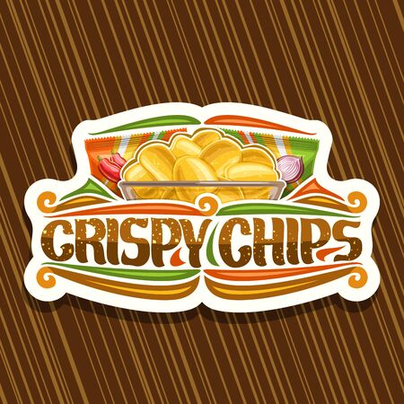 Vector logo for Potato Chips, decorative signage with illustration of crispy potatoes in transparent bowl and 2 plastic packs, cut paper sticker with brush script for words crispy chips and flourishes