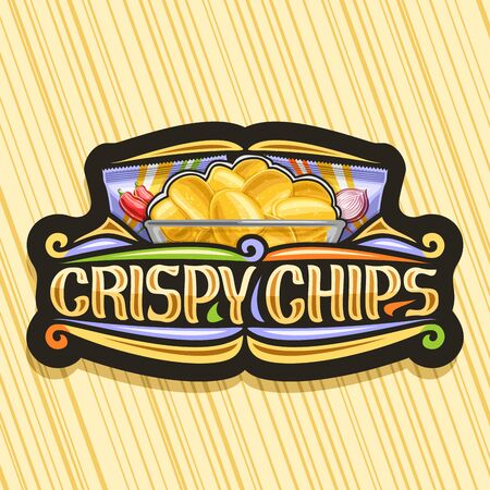 Vector logo for Potato Chips, decorative signage with illustration of crispy potatoes in transparent bowl and 2 plastic packs, black tag with original typeface for words crispy chips and flourishes.