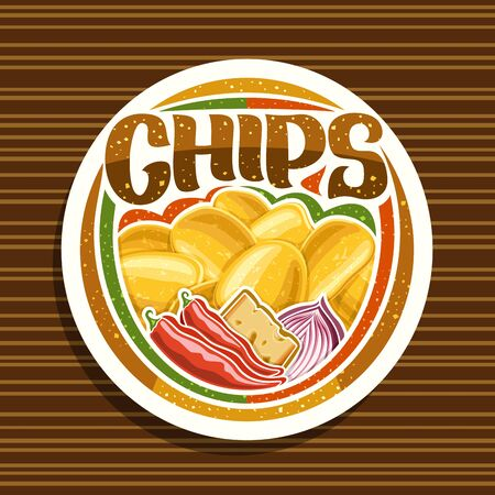 Vector logo for Potato Chips, decorative signage with illustration of heap crispy potatoes, chili peppers, slice of cheese, red onion, white tag with brush script for word chips on striped background