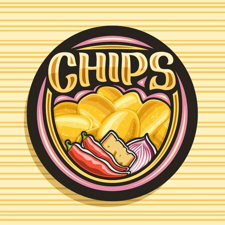 Vector logo for Potato Chips, decorative signage with illustration of heap crispy potatoes, chili peppers, slice of cheese, red onion, black tag with brush script for word chips on striped background Stock Illustratie